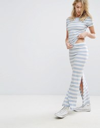 Only Abbie Co Ord Maxi Skirt With Slit Cashmere Blue Multi