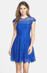 Women's Bb Dakota 'Rhianna' Illusion Yoke Lace Fit And Flare Dress Sapphire