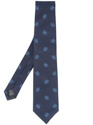 Gieves And Hawkes Embroidered Tie Blue