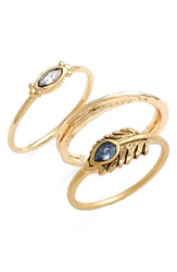 Lonna Lilly Mixed Rings Set Of 3 Gold Blue Feather