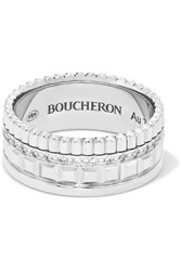 Boucheron Quatre Radiant Edition Small 18 Karat White Gold Diamond Ring 54