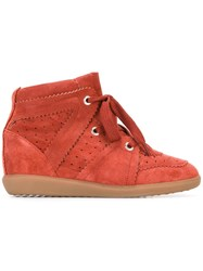 Isabel Marant 'Bobby' Wedge Sneakers Red