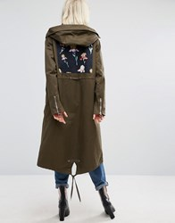 Lost Ink Parka Jacket With Oversize Floral Back Patch Khaki Green