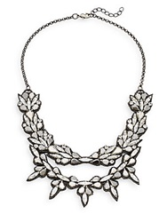 Deepa Gurnani Double Row Austrian Crystal And Suede Bib Necklace Gunmetal