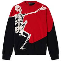 Alexander Mcqueen Dancing Skeleton Crew Knit Red