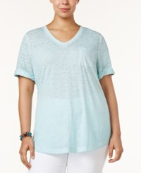 Style And Co Plus Size Burnout T Shirt Only At Macy's Aqua Brook