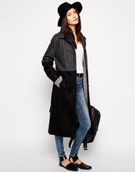 Just Female Two Tone Maxi Coat Greyblack