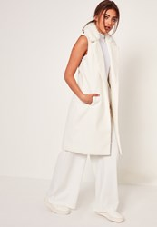 Missguided White Sleeveless Faux Fur Collar Tailored Coat