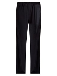 The Row Lala Wide Leg Stretch Crepe Trousers Navy