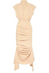 Awake A.W.A.K.E. Draped Crepe De Chine Midi Dress Peach
