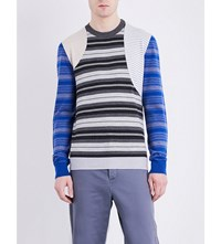 Loewe Patchwork Stripes Knitted Jumper Blue Melange