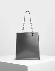 Charles And Keith Chain Strap Handle Tote Bag Pewter