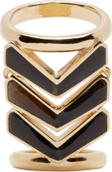 Balmain Gold And Black Chevron Ring