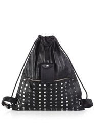 Diesel To Twice Studded Leather Drawstring Backpack Black