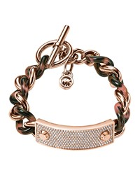 Twisted Pave Plaque Bracelet Michael Kors Rose Gold