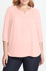 Nydj Plus Size Women's Henley Top Pink Cameo