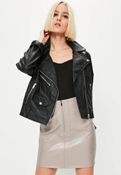 Missguided Grey Faux Leather Zip Front Mini Skirt Stone