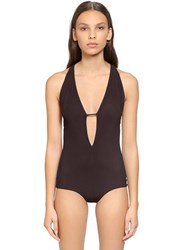 Alberta Ferretti Plunging Jersey One Piece Swimsuit Brown