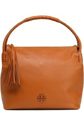 Tory Burch Tasseled Textured Leather Tote Light Brown