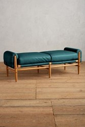 Anthropologie Premium Leather Rhys Bench Mountain Spring
