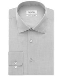 Calvin Klein Big And Tall Solid Dress Shirt Oyster Grey