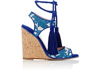 Paul Andrew Women's Tianjin Jacquard And Suede Wedge Sandals Blue Silver Nude