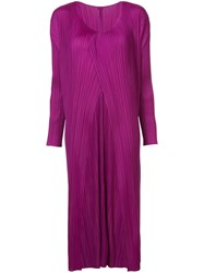 Issey Miyake Pleats Please By Pleated Coat Women Polyester 3 Pink Purple