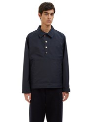 Thom Browne Waxed Cotton Packable Anorak Jacket Navy