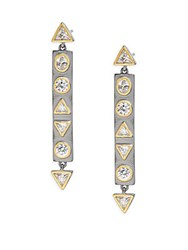 Freida Rothman Classic Cubic Zirconia Sterling Silver Rhodium Plated And 14K Goldplated Mother Of Pearl Geometric Stone Bar Earrings