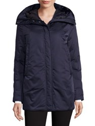 Dawn Levy Zip Front Hooded Jacket Navy