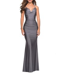 La Femme Sweetheart Sleeveless Ruched Jersey Gown With Strappy Back Gunmetal