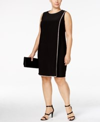 Betsy And Adam Plus Size Rhinestone Shift Dress Black