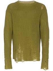 Song For The Mute Distressed Knitted Jumper Green