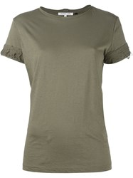 Helmut Lang Distressed Sleeve T Shirt Green