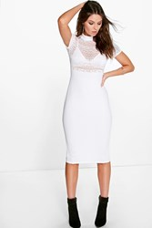 Boohoo High Neck Lace Top Short Sleeve Midi Dress Ivory