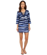 Michael Michael Kors Azur Stripe V Neck Tunic Cover Up New Navy Women's Swimwear
