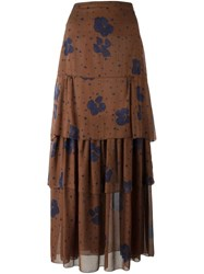 See By Chloe Floral Print Maxi Skirt Brown