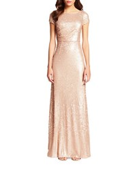 Adrianna Papell Short Sleeve Sequin Embellished Gown Nude