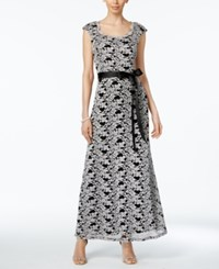 R And M Richards Lace Belted Gown Black White