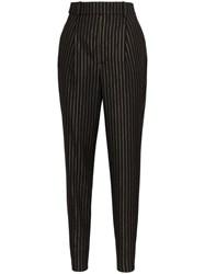 Saint Laurent Pinstripe Pleated Trousers Black