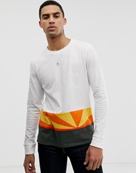 Hymn Sunset Colour Block Long Sleeve T Shirt Navy