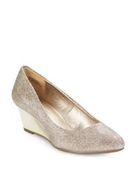 Bandolino Franci Suede Wedge Pumps Gold