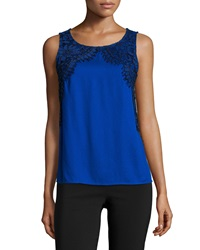 Ella Moss Sleeveless Lace Applique Top Sapphire