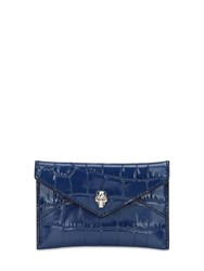 Alexander Mcqueen Croc Embossed Leather Card Holder Industrial Blue
