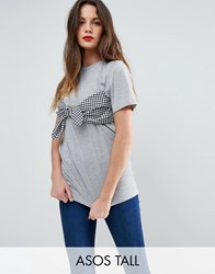 Asos Tall T Shirt With Gingham Print Bandeau Grey