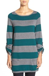 Petite Women's Caslon Knit Tunic Teal Heather Grey Stripe