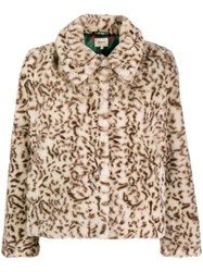 Bellerose Leopard Faux Fur Jacket Neutrals