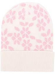 Barrie Floral Knit Beanie White