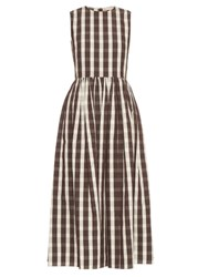 Brock Collection Gingham Linen And Cotton Blend Dress Brown Multi