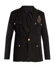 Balmain Embroidered Applique Patch Field Jacket Black